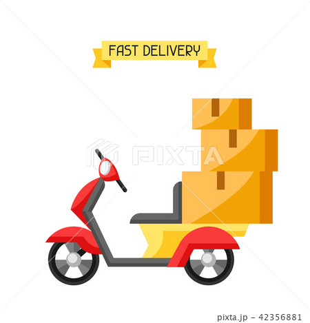 Goods delivery by motorcycle. 42356881