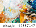 Oil Paint And Paint Brush On A Palette 42357147