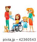 身体障害者 ファミリー 家庭のイラスト 42360543