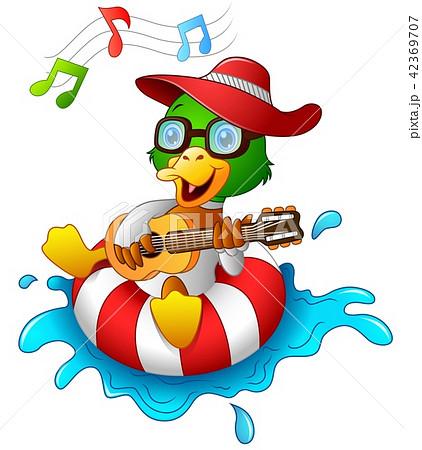 Funny duck cartoon enjoying on the lifebuoy 42369707