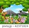Cartoon wild animal in the jungle 42371824