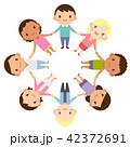 輪になる世界の人々 人種 男女 かわいい フラット イラスト 42372691