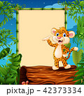 Leopard presenting on hollow log near the empty 42373334