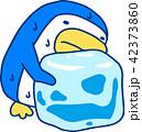 ポップな青いペンギン 暑い 猛暑 汗 42373860