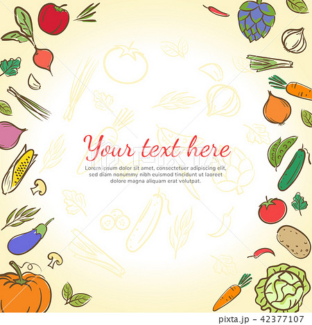 fruits vegetables cute banner background templateのイラスト素材
