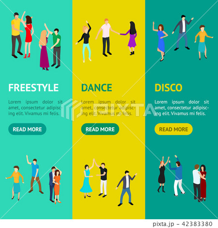 Isometric Dancing People Characters Banner Vecrtical Set . Vector 42383380