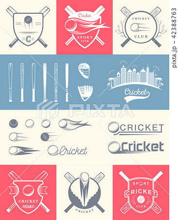 Set of Vintage Cricket Logos and Badges. 42388763