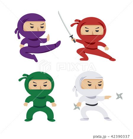 set of the cartoon colored ninjas with katana sword, martial arts poses. Vector clip art 42390337