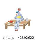 夕涼み 浴衣 シニア 女性 イラスト 42392622