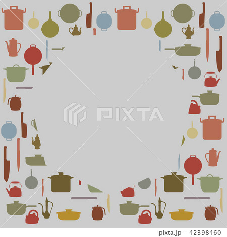 Silhouettes of Kitchenware , vector for background 42398460