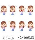 女の子 感情 表情のイラスト 42400583
