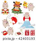 猪 年賀状素材 亥のイラスト 42403193