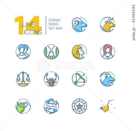 zodiac signs set of line design style colorful iconsのイラスト素材