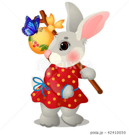 Animated hare with a bag and clothes isolated on white background. The character of Russian folk 42410050