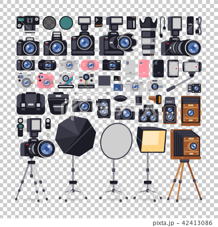 Photographer Equipment Icons in Flat Style 42413086