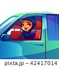 女性 車 自動車のイラスト 42417014