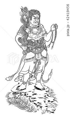 不動明王 線画のイラスト素材 42419456 Pixta