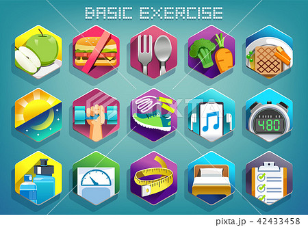 Basic exercise for lose weight color icon concept. 42433458