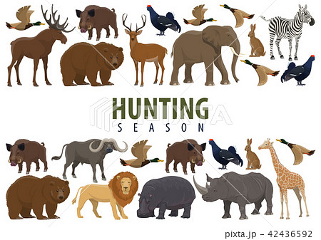 hunting banner with wild animals and birdsのイラスト素材 42436592