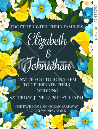 wedding party invitation banner with flower frameのイラスト素材