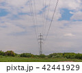 cloudy morning sky and a high-voltage line 42441929