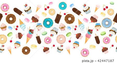 Watercolor sweets pattern 42447187