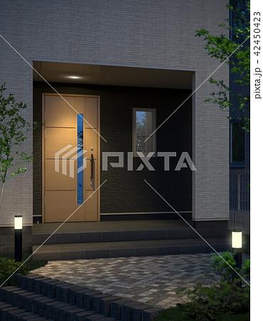 戸建住宅の玄関(夜) 42450423