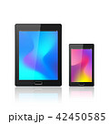 Modern digital tablet PC with mobile smartphone isolated on the white. Abstract fluid 3d shapes 42450585