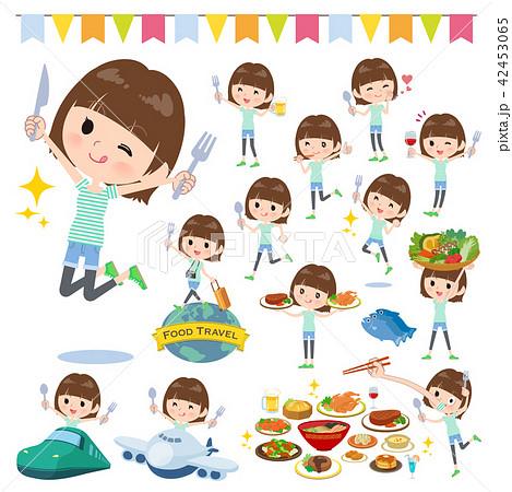 mischievous young  women_food festival 42453065