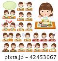 女性 若者 食事のイラスト 42453067
