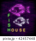 Colorful Neon Fish House Sign 42457448