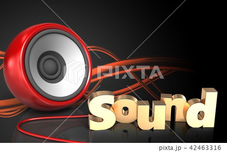 3d illustration of speaker blank with sound signのイラスト素材