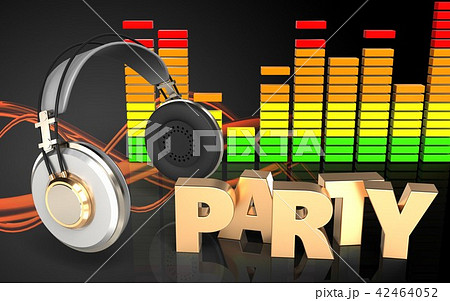 3d  illustration of audio spectrum with party sign 42464052