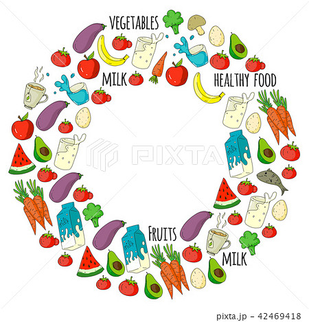 Pattern with healthy food. Cooking class, menu elements for restaurant, cafe. Milk, ice cream, fish 42469418