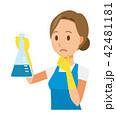 青いエプロンとゴム手袋を着用した女性が三角フラスコを持っている 42481181