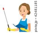 青いエプロンとゴム手袋を着用した女性が指示棒を持っている指示棒 42481185