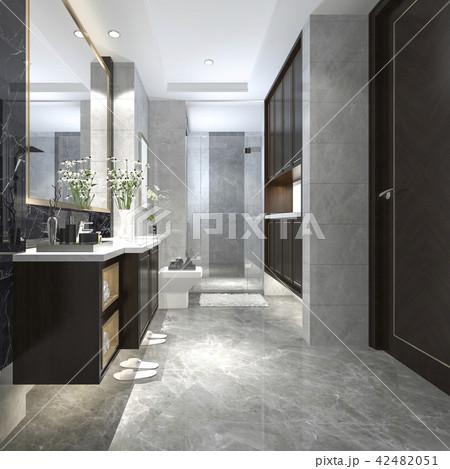 modern loft bathroom with luxury tile decor 42482051