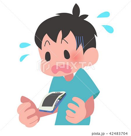 スマートフォン バッテリー 膨張 慌てる 男性 42483704