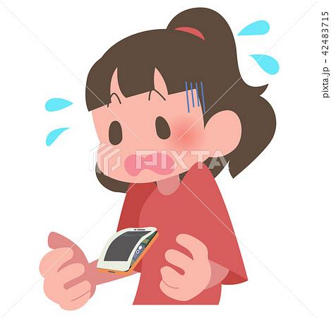 スマートフォン バッテリー 膨張 女性 慌てる 42483715