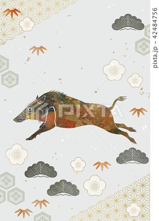 装飾的なイノシシ 松竹梅 和柄 42484756