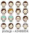 様々な世代の医療関係者 男女 白衣 顔 表情 かわいい アイコン セット 42486834
