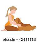 わんこ 犬 女の子のイラスト 42488538