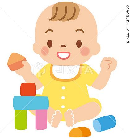 積み木遊びをする赤ちゃん 42490665