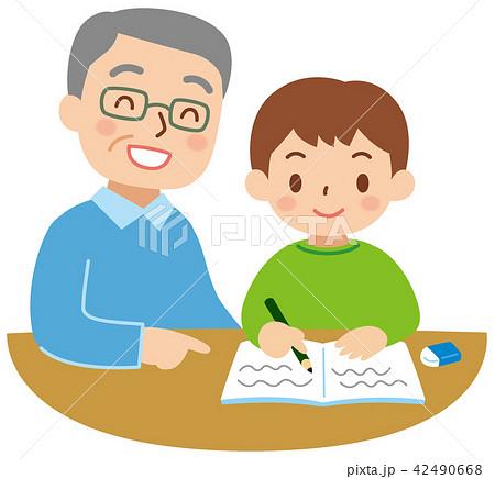 子供の勉強を見るおじいちゃん 42490668