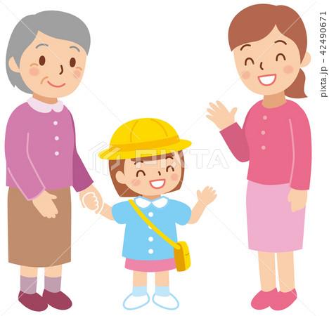 通園を手伝うおばあちゃん 42490671