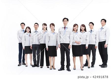 ビジネス 不動産 建築 建設 製造 白バック 大人数 42491878