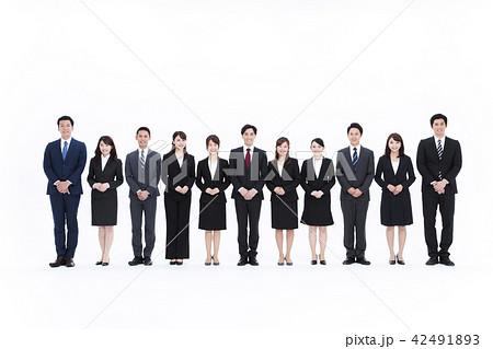 ビジネス 白バック 大人数 ビジネスマン 女性 男性 42491893