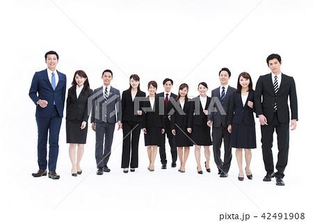 ビジネス 白バック 大人数 ビジネスマン 女性 男性 42491908
