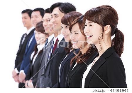 ビジネス 白バック 大人数 ビジネスマン 女性 男性 42491945