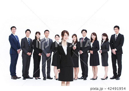 ビジネス 白バック 大人数 ビジネスマン 女性 男性 42491954